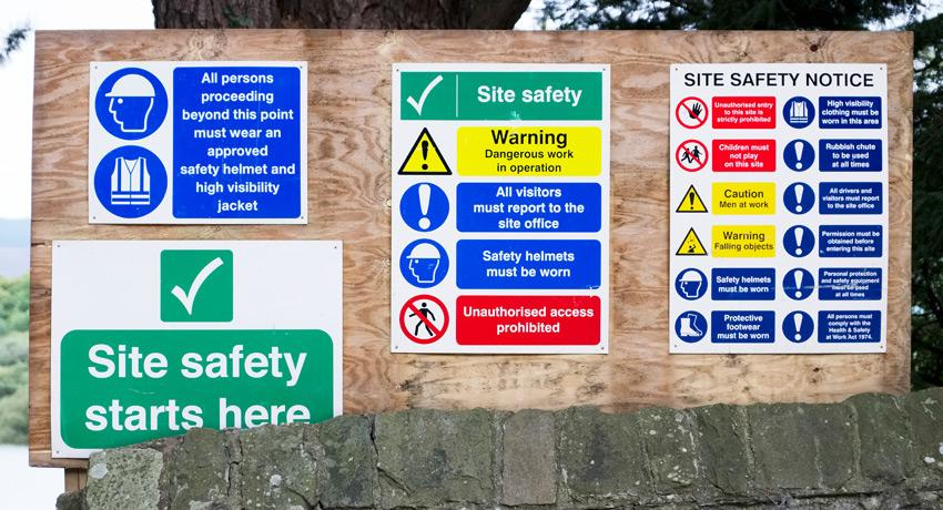 construction signs, waste signage, information signs, danger signs, health and safety signs